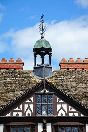 grange: Bellcote on top of the timber framed Grange Court which was formerly the Market Hall, Leominster, Herefordshire, England, UK, Western Europe.