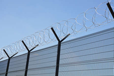 barbed wire fence: Coiled barbed wire on top of a security fence Stock Photo