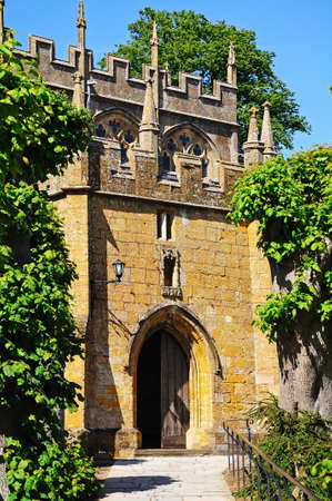 gloucestershire: Entrance to St James church, Chipping Campden, The Cotswolds, Gloucestershire, England, UK, Western Europe.