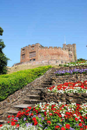 norman castle: View of the castle gardens with steps leading towards the Norman castle, Tamworth, Staffordshire, England, UK, Western Europe.