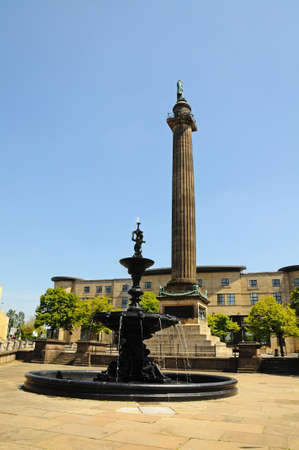 wellingtons: The Steble Fountain with Wellingtons Column to the rear, Liverpool, Merseyside, England, UK, Western Europe.