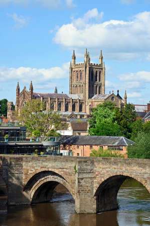 hereford: View of the Cathedral, the Wye Bridge and the River Wye, Hereford, Herefordshire, England, UK, Western Europe. Stock Photo