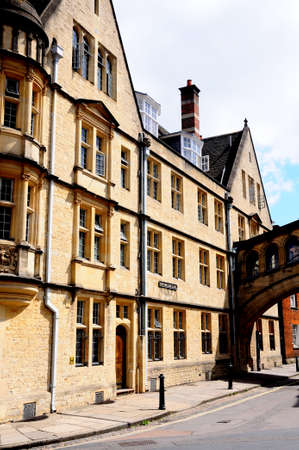 other side of: Part of Hertford college which is attached to the other side of the street by the Bridge of Sighs along New College Lane, Oxford, Oxfordshire, England, UK, Western Europe.