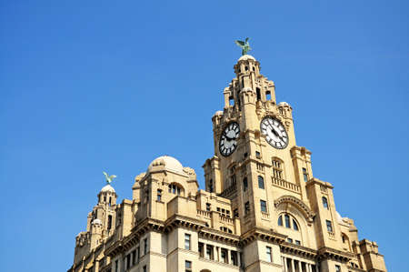 liver: The Royal Liver Building clock tower and Liver Bird at Pier Head, Liverpool, Merseyside, England, UK, Western Europe.