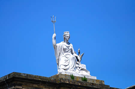 britannia: Statue of Britannia and a Liver Bird on top of the Walker Art Gallery, Liverpool, Merseyside, England, UK, Western Europe. Stock Photo