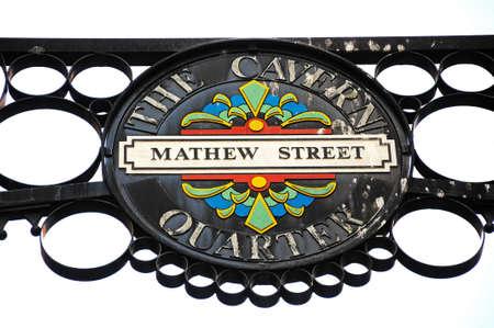 merseyside: Wrought iron Mathew Street sign, The Cavern Quarter, Liverpool, Merseyside, England, UK, Western Europe.