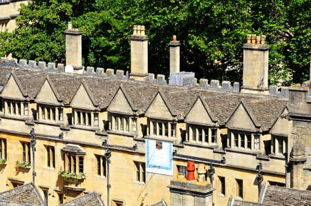 oxfordshire: Elevated view of Brasenose College seen from the University church of St Mary spire, Oxford, Oxfordshire, England, UK, Western Europe. Stock Photo