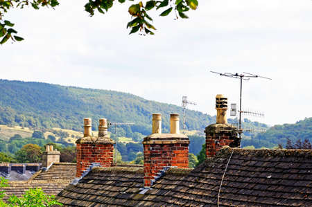 western europe: Cottage rooftops with chimney pots, Bakewell, Derbyshire, England, UK, Western Europe.