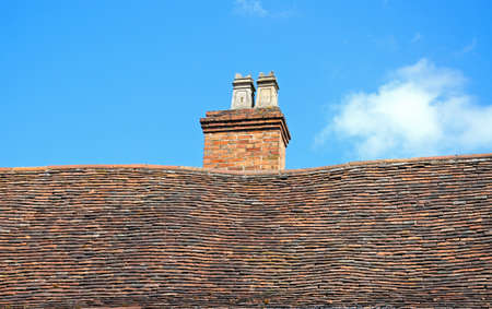 framed: Bent roof and chimney on an old timber framed buildings along Spon Street, Coventry, West Midlands, England, UK, Western Europe.