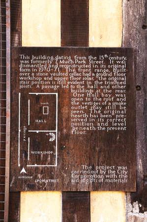framed: Information plaque on an old timber framed building along Spon Street, Coventry, West Midlands, England, UK, Western Europe.