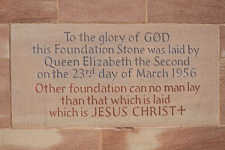 midlands: Foundation sign laid by Queen Elizabeth II in 1956 in the wall of the new Cathedral, Coventry, West Midlands, England, UK, Western Europe.