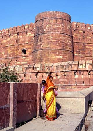 uttar pradesh: Indian women standing outside Agra Fort, Agra, Uttar Pradesh, India.