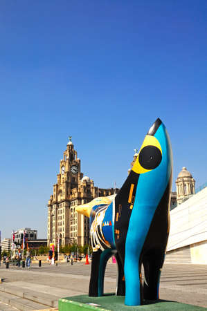 merseyside: Superlambanana along the quayside at Pier Head with the Liver Building to the rear, Liverpool, Merseyside, England, UK, Western Europe.