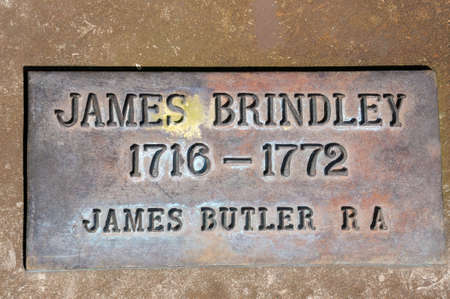 memorial plaque: James Brindley memorial plaque in the canal basin, Coventry, West Midlands, England, UK, Western Europe.