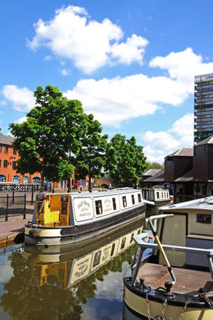 midlands: Narrowboats moored in the canal basin, Coventry, West Midlands, England, UK, Western Europe. Editorial