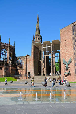 midlands: Front view and entrance to the old an new Cathedrals, Coventry, West Midlands, England, UK, Western Europe.