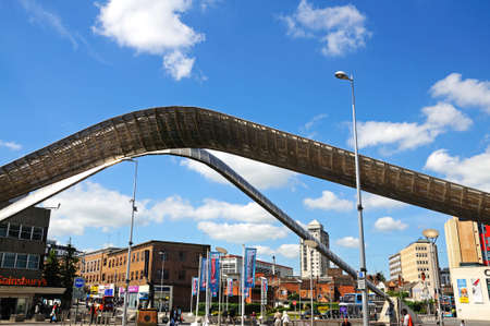 midlands: View of the Whittle arch in Millennium Place, Coventry, West Midlands, England, UK, Western Europe.