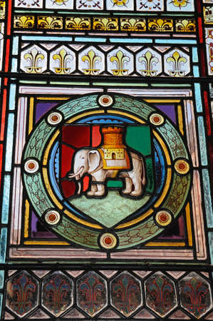 guildhall: Elephant and castle stained glass window in St Marys Guildhall, Coventry, West Midlands, England, UK, Western Europe. Editorial