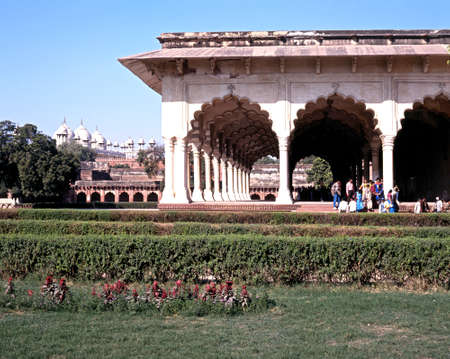 uttar pradesh: Hall of the Public Audience Deewan I Am within the Agra Fort, Agra, Uttar Pradesh, India.