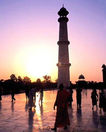 uttar: One of the Taj Mahal minarets at sunset, Agra, Uttar Pradesh, India. Editorial