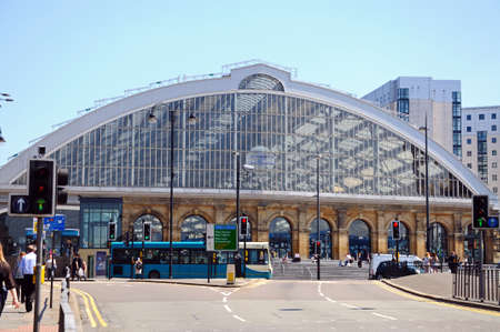western europe: Front view of Lime Street Railway Station, Liverpool, Merseyside, England, UK, Western Europe.