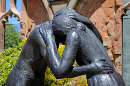 Reconciliation statue inside the ruins of the old Cathedral, Coventry, West Midlands, England, UK, Western Europe.