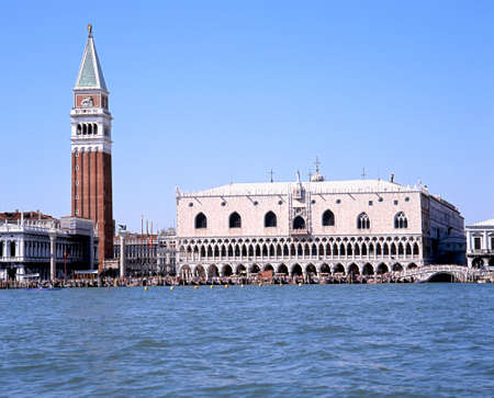st mark's square: View of the Campanile and Doges Palace at St Marks Square seen from the lagoon, Venice, Veneto, Italy, Europe. Editorial