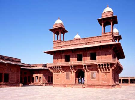 fatehpur: Part of deserted city, Hall of the Private Audience (Diwan-i-Khas), Fatehpur Sikri, Agra District, Uttar Pradesh, India.
