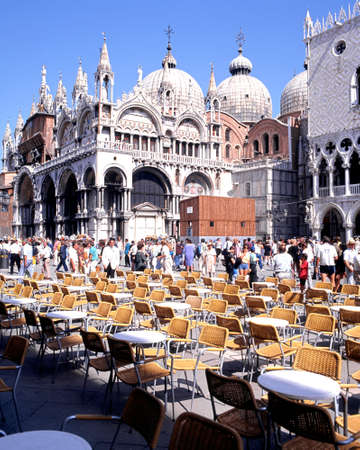 st  mark's square: Cafe tables and St Marks Basilica in St Marks Square