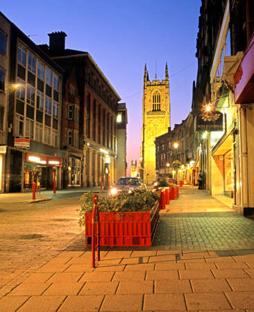 derbyshire: View along Irongate leading to the Cathedral at night, Derby, Derbyshire, England, UK, Western Europe.