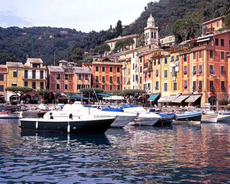 motor boats: Motor boats and fishing boats in the harbour with the town to the rear, Portofino, Liguria, Italy, Western Europe. Editorial