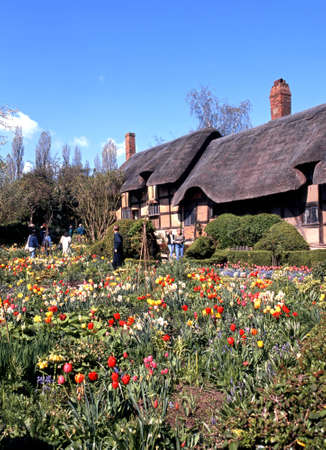 newlands: Anne Hathaways Cottage with spring bulbs in bloom in the foreground, Shottery, Stratford-upon-Avon, Warwickshire, England, UK, Western Europe.