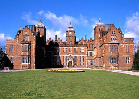 jacobean: View of Aston Hall with Spring flowers in the foreground, Aston, Birmingham, West Midlands, England, UK, Western Europe.