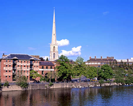severn: St Andrews spire (Glovers Needle) and South Quay seen from across the river Severn, Worcester, Worcestershire, England, UK, Western Europe.
