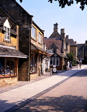 worcestershire: Village shops along the High Street, Broadway, Worcestershire, Cotswolds, England, United Kingdom, Western Europe.