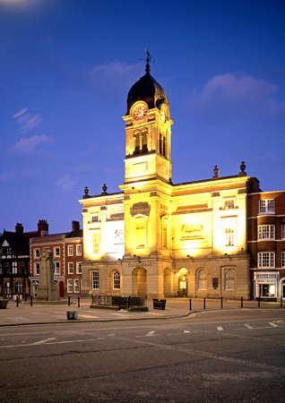 derbyshire: View of the Guildhalll in the city centre at dusk, Derby, Derbyshire, England, UK, Western Europe.