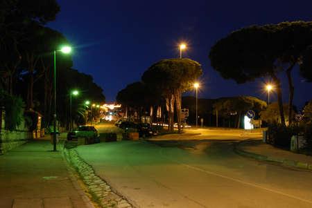 writing western: Avenida de Espana at night with Christmas streetlights, Sitio de Calahonda, Mijas Costa, Costa del Sol, Malaga Province, Spain, Western Europe.