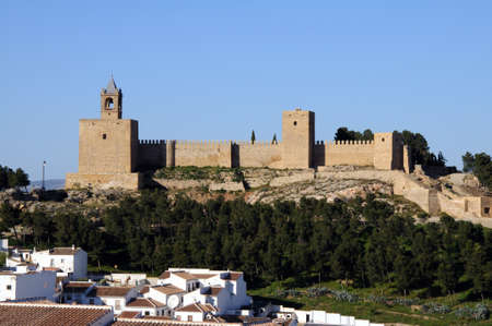 townhouses: Castle fortress townhouses in the foreground, Antequera, Malaga Province, Andalucia, Spain, Western Europe. Editorial