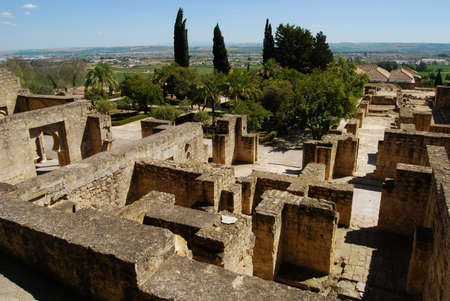 quarters: Guards quarters and surrounding countryside, Medina Azahara Madinat al-Zahra, Near Cordoba, Cordoba Province, Andalucia, Spain, Western Europe.