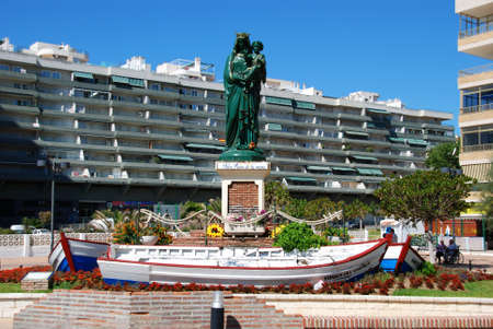 salve: Hail Queen of the seas statuette (Salve Reina de los mares) along the seafront, Fuengirola, Malaga Province, Andalusia, Spain, Western Europe.