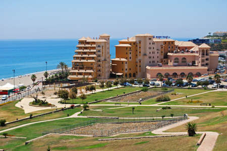 elevated view: Elevated view of the Beatriz Palace hotel and castle gardens alongside the beach, Fuengirola, Malaga Province, Andalusia, Spain, Western Europe. Editorial