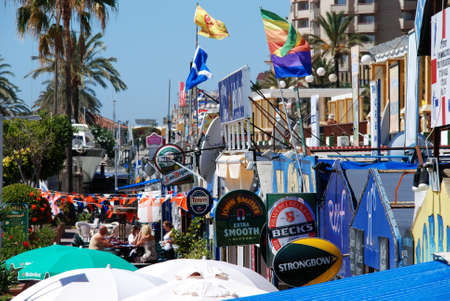 western europe: Row of British bars and restaurants in the harbour, Fuengirola, Malaga Province, Andalusia, Spain, Western Europe.