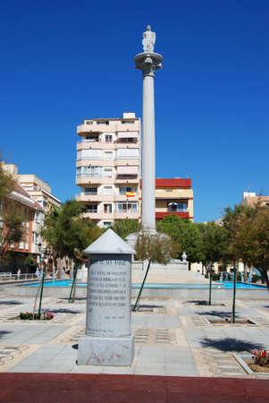 san rafael: Statue on column in the Plaza de San Rafael, Fuengirola, Malaga Province, Andalusia, Spain, Western Europe.