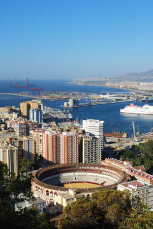 elevated view: Elevated view of the bullring and port area, Malaga, Malaga Province, Andalusia, Spain, Western Europe. Editorial