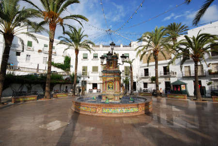 town square: Fountain in the town square, Vejer de la Frontera, Costa de la Luz, Cadiz Province, Andalusia, Spain, Western Europe. Editorial