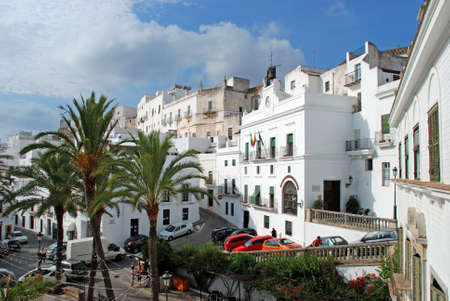 town centre: Elevated view of the town hall and town centre, Vejer de la Frontera, Costa de la Luz, Cadiz Province, Andalusia, Spain, Western Europe.