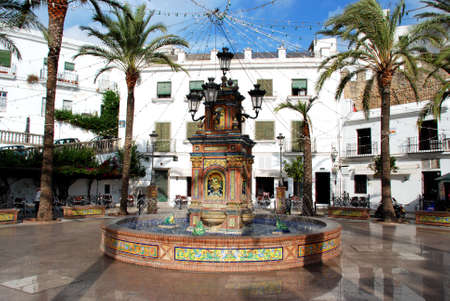 town square: View of the fountain in the town square, Vejer de la Frontera, Costa de la Luz, Cadiz Province, Andalusia, Spain, Western Europe.