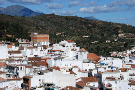 pueblo: View of the town and surrounding countryside, whitewashed village pueblo blanco, Monda, Malaga Province, Andalucia, Spain, Western Europe. Stock Photo