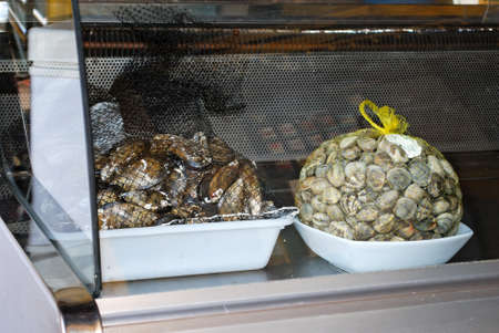 chiller: Mussels and assorted shell fish in chiller cabinet outside a restaurant, Conil de la Frontera, Costa de la Luz, Cadiz Province, Andalusia, Spain, Western Europe.