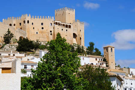 townhouses: View of the castle castillo de los Fajardo and townhouses, Velez Blanco, Almeria Province, Andalucia, Spain, Western Europe.